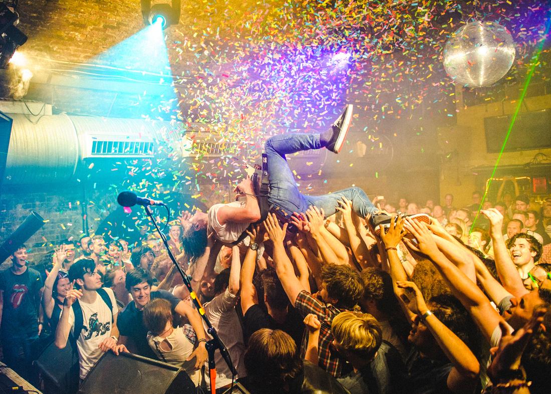 Dinosaur Pile up crowd surfing at Cargo London
