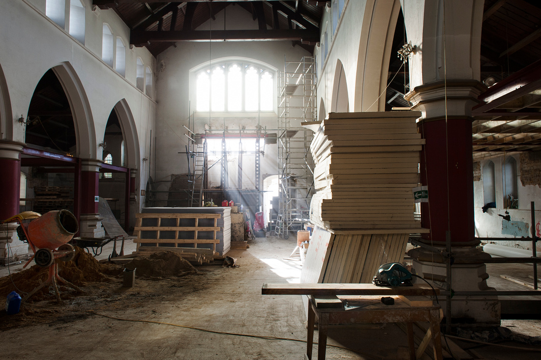 Photo of a London church in the process if being renovated.